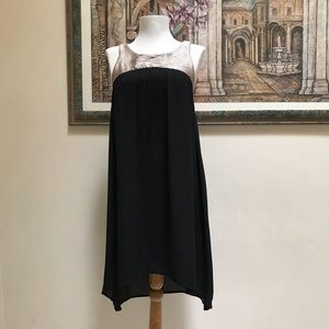 Needle and Thread Black Gold Trapeze Dress Size S